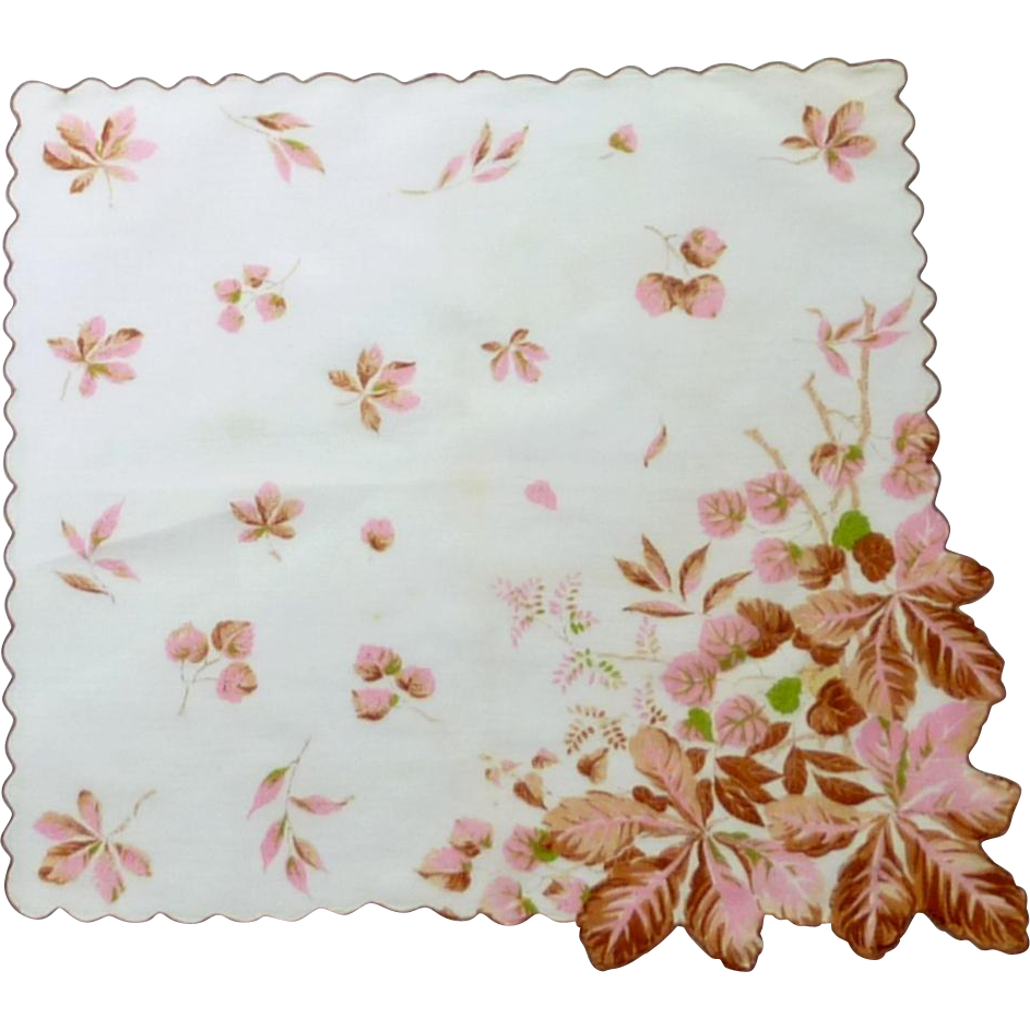 Pink Autumn Leaves Handkerchief