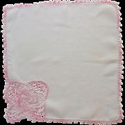 Crocheted Pink Swirl Flower White Handkerchief