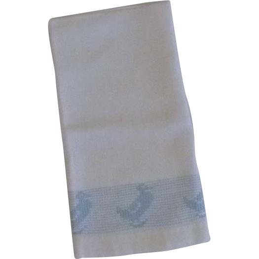 1950's Embroidered Blue Duck Hand Towel