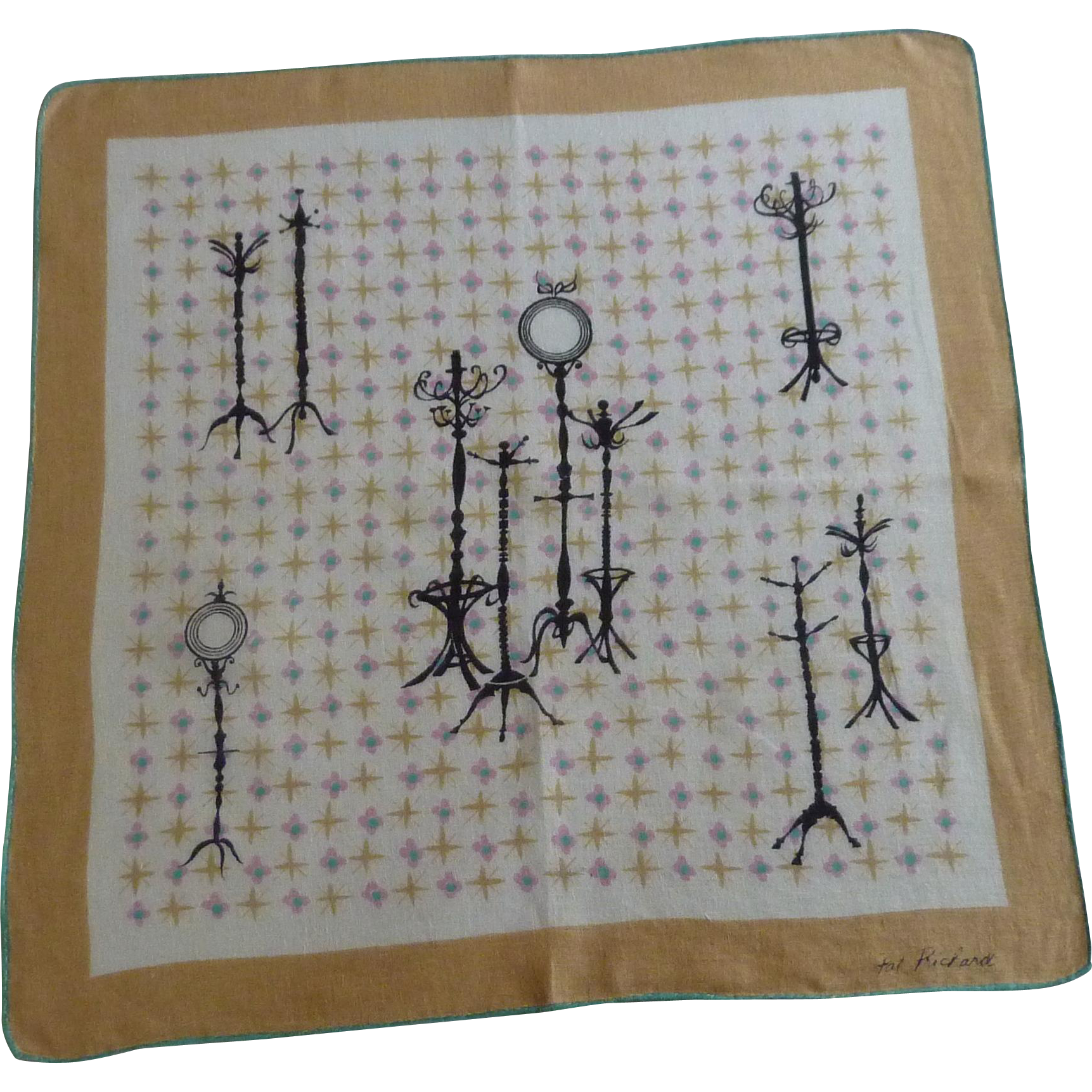 Pat Pritchard Signed Clothes Rack Handkerchief Hankie