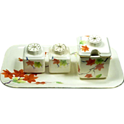 Hand Painted Set Autumn Leaf  / Leaves Condiment Japan