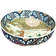 """Japanese Meiji Period 9 ½"""" Hand Painted Bowl"""