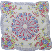Pretty Pin Wheel of Flowers Blue and Pink Handkerchief