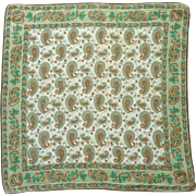 Large Linen Green and Brown Paisley Handkerchief