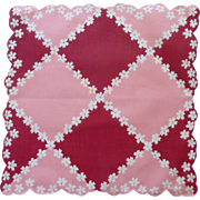 Diamond Shape Daisy Flowers Pink and Maroon Handkerchief