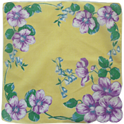 Yellow with Purple and Blue Flower Handkerchief