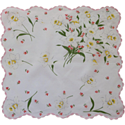 White Handkerchief with Pink and White Daffodils