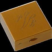 Initial PBV Stamp Box Mid Century Brass