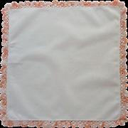 Exquisite  Peach Pink Tatted Edge White Handkerchief Hanky