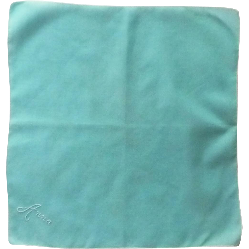 """Anna"" Embroidered Aqua Blue Handkerchief Hankie"