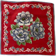 Red with Grey and White Flowers Handkerchief Hanky