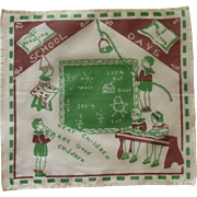 Children's School Days Handkerchief 1940s