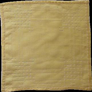 Beautiful Drawn Work Yellow Handkerchief Hankie