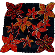 Large Autumn Leaves /Background Black Handkerchief Hankie