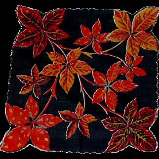 Large Autumn Leaves /Background Black Handkerchief Hankie
