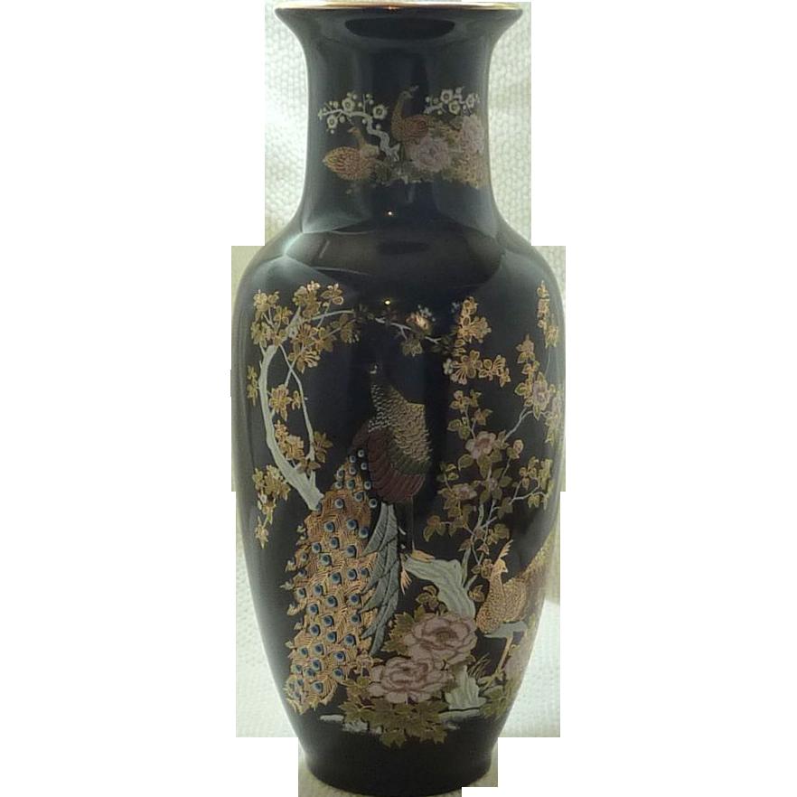 Beautiful Peacock Black Heisei Asian Vase Sold On Ruby Lane