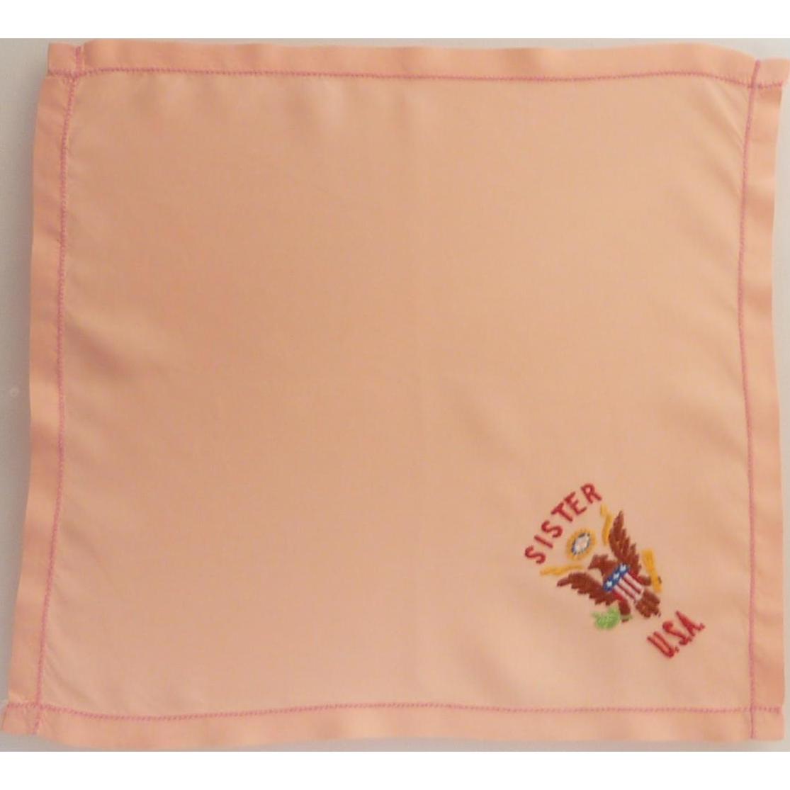 WW II Sister USA Pink Silk Handkerchief Hankie