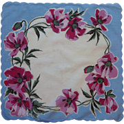 Scalloped Fuchsia Purple Flowers and Blue Handkerchief Hanky