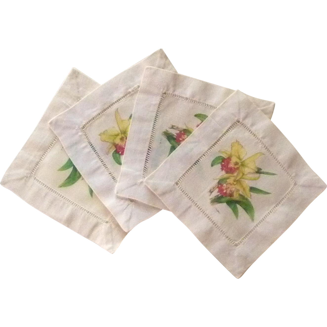 4 Cloth Hemstitched Linen Orchid Cocktail Napkins
