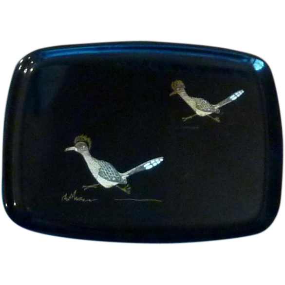 Mid Century (1960) Couroc Roadrunner Bar Tray