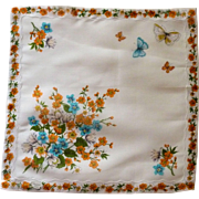 Cotton White with Orange / Aqua Flower Handkerchief Hanky