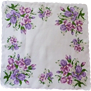 White with Purple Iris and Daisies Handkerchief Hanky