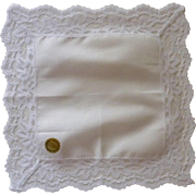 White Cotton Center with Nylon Lace Border Handkerchief