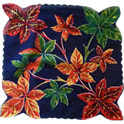 Large Autumn Leaves /Background Dark Blue Handkerchief Hankie