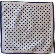 Navy Polka Dots on White Background Handkerchief Hankie