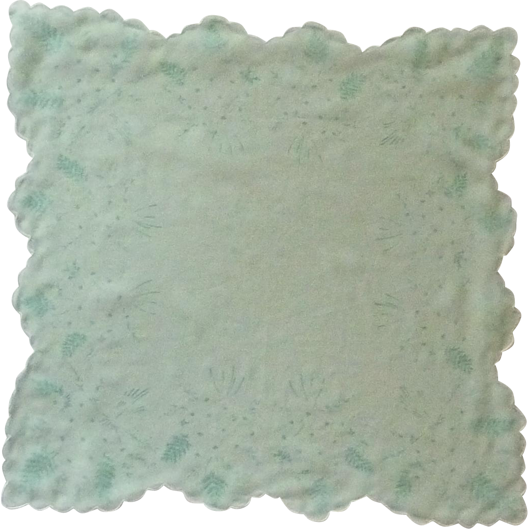 Mint Green Sheer Transparent Flower Bouget Handkerchief Hanky