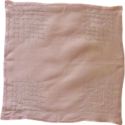 Beautiful Drawn Work Pink Handkerchief Hankie
