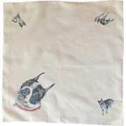 English Bulldog White Cotton Handkerchief Hanky