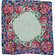 Cotton Bright Red Flowered Border Handkerchief Hankie