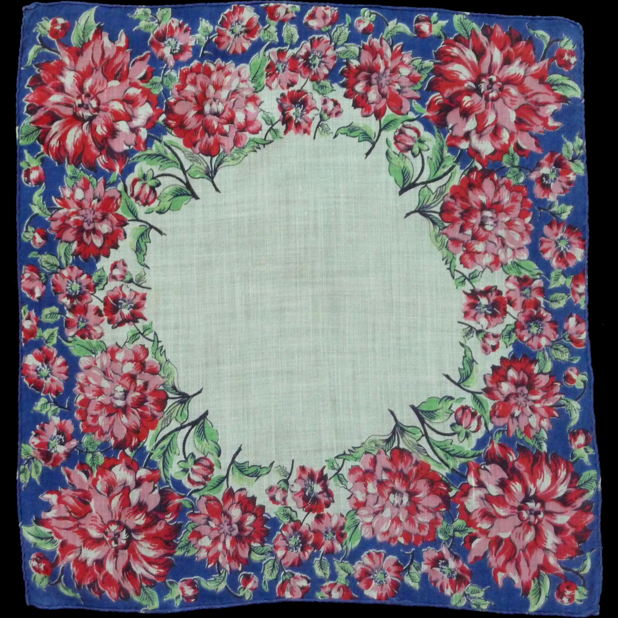 Cotton Bright Red Flowered Border Handkerchief Hankie