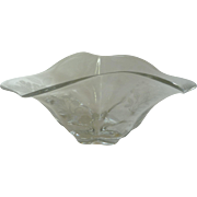 Unusual Shaped Clear Etched Floral Glass Bowl