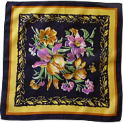 Black with Bold Yellow Fuchsia Flower Handkerchief Hankie