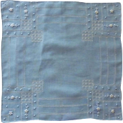 Beautiful Drawn Work Blue Handkerchief Hankie
