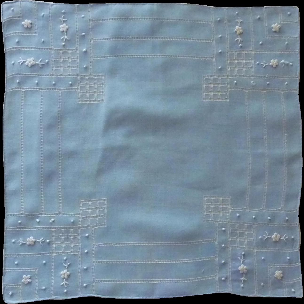Beautiful Drawn Work Blue Handkerchief Hankie