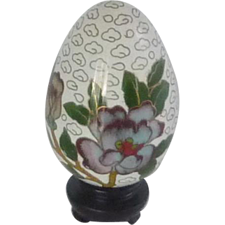 Cloisonné Enamel Floral White Egg and Stand