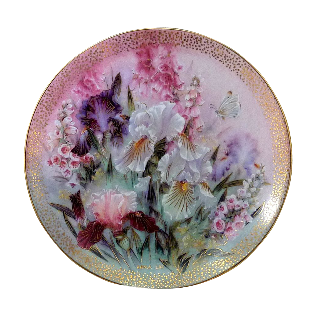 Beautiful iris quartet lena liu 1991 limited edition plate Beautiful plates