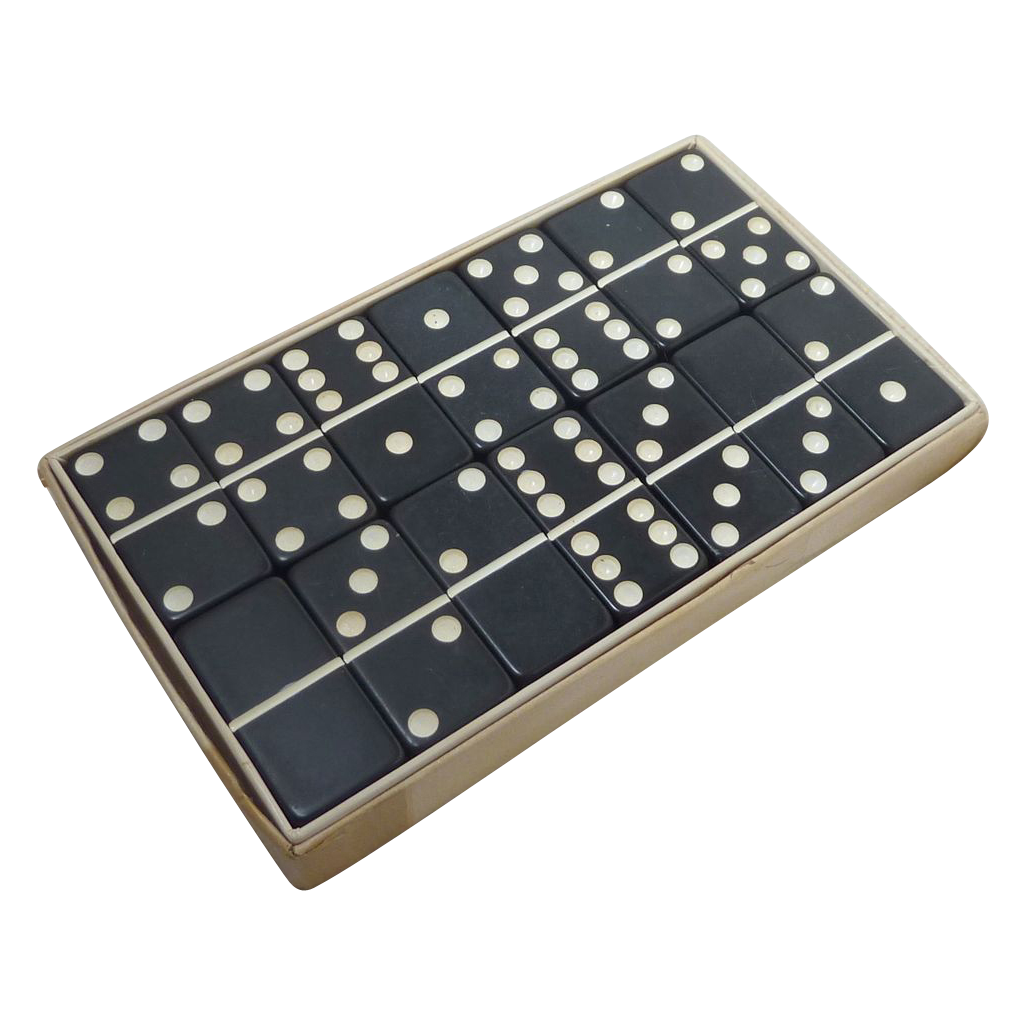 Black Extra Thick Marblelike Dominoes Game Set Box From