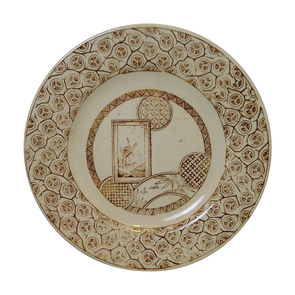 Brown Transfer Ware  Child's Tea Plate Pottery