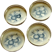 Porcelain Blue / White Glass Coaster Set of Four