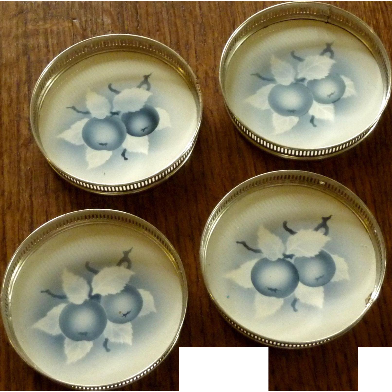 Porcelain Blue / White Glass Coaster Set of Four