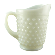 White Vintage Small Juice Pitcher Hobnail Milk Glass