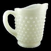 White Vintage Small Juice Pitcher Hobnail Milk Glass