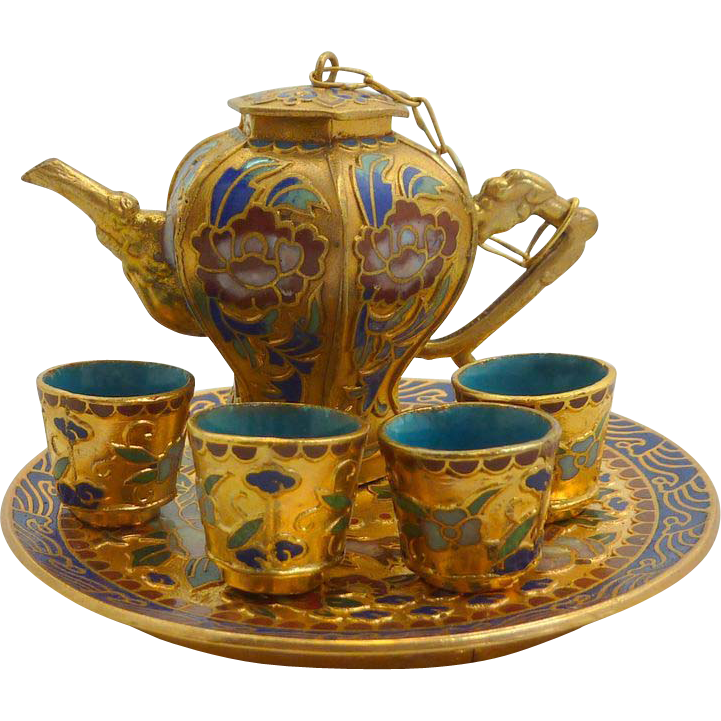 Charming Miniature Chinese Cloisonne Tea Pot, Cups and Tray