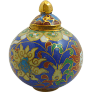 Royal Blue Miniature  Pumpkin Sphere Cloisonne Pot / Box  with Lid