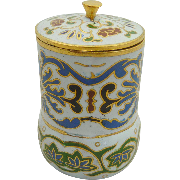 White Cylinder Shape Miniature  Cloisonne Pot / Box  with Lid