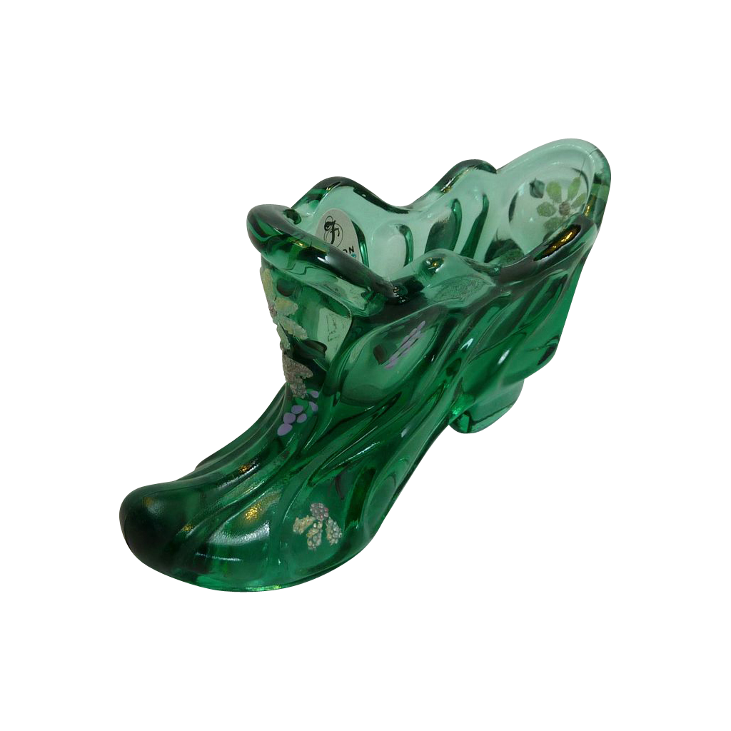Hand Painted Fenton Green Glass Shoe